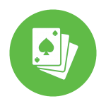 Illustration of poker playing cards inside an icon