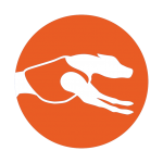 Illustration of a racing greyhound in an icon