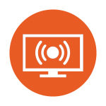 Illustration of a simulcasting program on TV in an icon